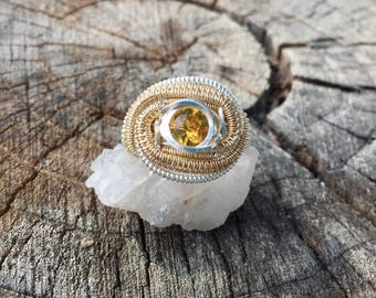 Citrine 14ct Goldfill and Sterling Silver Ring