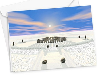 Winter Solstice Holiday Card, christmas card, non-denominational card, mystical holiday card, winter solstice, Stonehenge, greeting card
