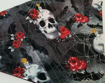 Skulls Over the Collar Dog Bandana that Slips onto their Existing Collar. Skulls and Roses Dog Bandana. Grunge Dog Bandana.