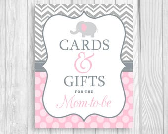 Cards and Gifts for the Mom-to-Be 5x7, 8x10 Printable Elephant Baby Shower Sign in Gray Chevron and Light Pink Polka Dots - Instant Download