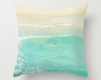 beach cottage decor, pillow cover, peppermint blue ocean wave, beach photography, nautical surfer home decor modern bedding 18x18 cover