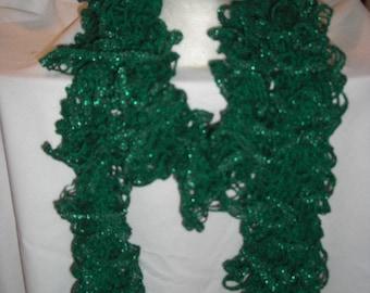 Handmade Knit  Ruffle Scarf appr 4  x 64
