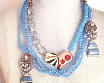 Statement Necklace, Alice in Wonderland layered Necklace, Vintage Assemblage Necklace