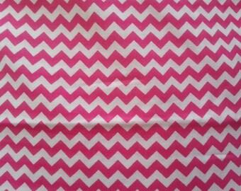 Pink and White Ric Rac Chevron Cotton Fabric 2 Yards