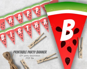 happy birthday banner, slices of watermelon banner, watermelon birthday party, printable decorative garland red green, download