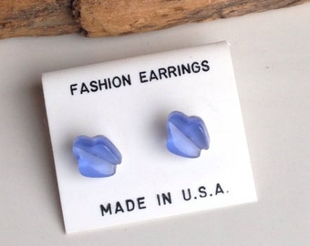 Plastic Earrings, Stud Earrings, Blue Earrings, Small Earrings, New Old Stock, 1980s Earrings