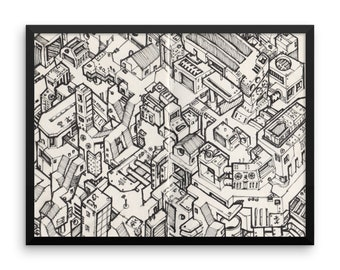 Cyberpunk Scifi Metropolis #01 - Framed poster