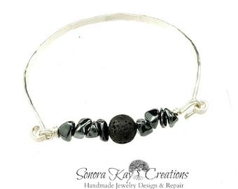 Sterling Silver Bracelet | Spring Clasp Bracelet | Lava Bead Diffuser | Bangle Style Bracelet | Natural Gemstone| Hematite and Smokey Quartz