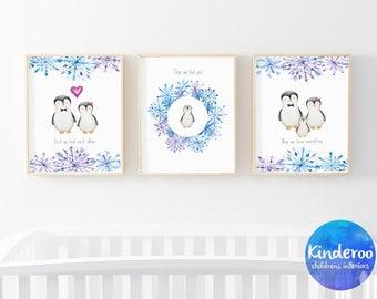 Penguin family | set of 3 instant download prints