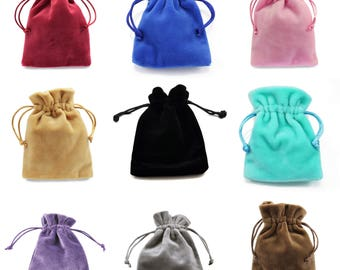 """Jewellery pouches 10cm x 14cm  , Velvet pouches drawstring Gift Bags Thick Soft High Quality - (3.9"""" x 5.5"""")"""