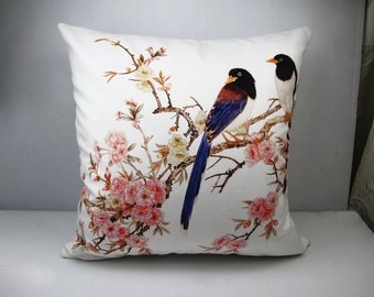 Velvet pillow cover bird pillow cover floral pillow cover decorative cushion cover double sides design optional sizes
