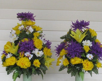 Custom Spring & Summer Silk Cemetery Arrangement-Memorial Flowers Cemetery Vase-Grave Flowers-Grave Decoration-Silk Cemetery Cone-In Memory