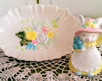 Sweet Vintage Spring Flowers Soap Dish and Country Bunny Figure Set