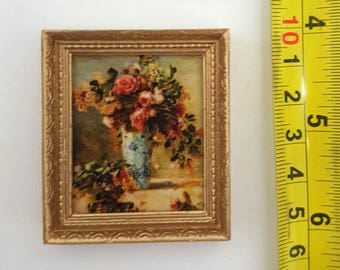 Renoir Rose and jasmin in a Delft vase - for 1:12 dollhouse