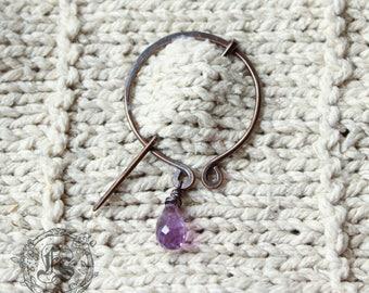 Shawl Pin or Pennanular Brooch with Amethyst Drop.  Knitting Clasp.