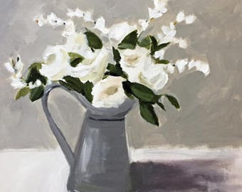 home decor white flowers painting contemporary design original painting 20x24 white and grey art pewter grey pamela munger