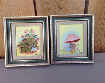 Set of 2 original mouse oil paintings