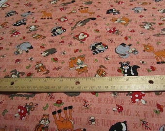 Pink Be Who You WERE Created To Be Woodland Animal Henry Glass Cotton Fabric by the Yard