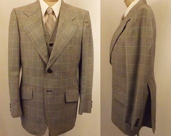 Vintage Men's Retro Gray Black Glen Check 3 pc Suit Size 40