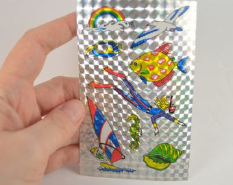 Rare Vintage Prism Stickers, 90's Water Sports Stickers, Shiny Beach, Reflective Metallic Foil Stickers, Prismatic Chrome Sticker Sheet