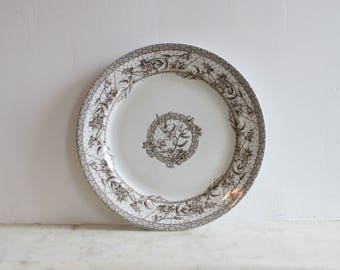 Antique W H Grindley Malta English Brown Transfer Ironstone Plate, Aesthetic, Victorian Dish