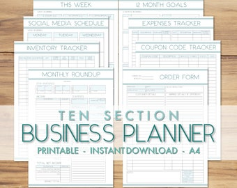 Printable A4 Business Planner - 10 SECTIONS - Business Organisation Printables - Blue Turquoise - Small Business Trackers - Etsy Business