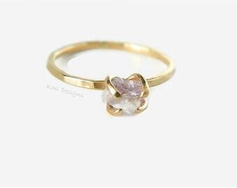 Amethyst Ring, Raw Amethyst Engagement Gold Ring, Gold Engagement Ring, Promise Ring, Amethyst Stone, February Birthstone, Gemstone Ring