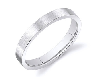 14k White Gold Band (3mm) / PLAIN / Matte Brushed Flat + Comfort Fit / Men's Women's Wedding Ring Thin