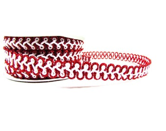 """Red and White Chinese Braid Trim Metallic Edge 1/2"""" 3 Yards"""
