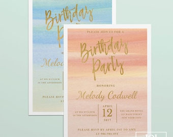 Gold birthday invitation template elegant birthday invitation watercolor birthday invitation template printable birthday party invitation pink and gold adult birthday design gold foil filmwisefo Gallery