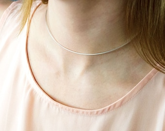 Sterling silver Choker Necklace,  Layered Necklaces, metal choker necklace, mothers day gift for her, bridesmaid gift, trendy choker