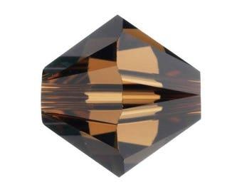Set of 20-50 or 100 4 mm smoked topaz (Brown - bronze) Swarovski Crystal beads