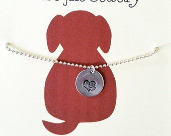 Fur Mama Love Sterling Silver Heart Necklace, Paw Necklace Heart Paw Jewelry Gifts Gift for Her