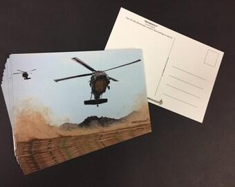 Cartes postales d'hélicoptère UH-60 Blackhawk armée (paquet de 20)