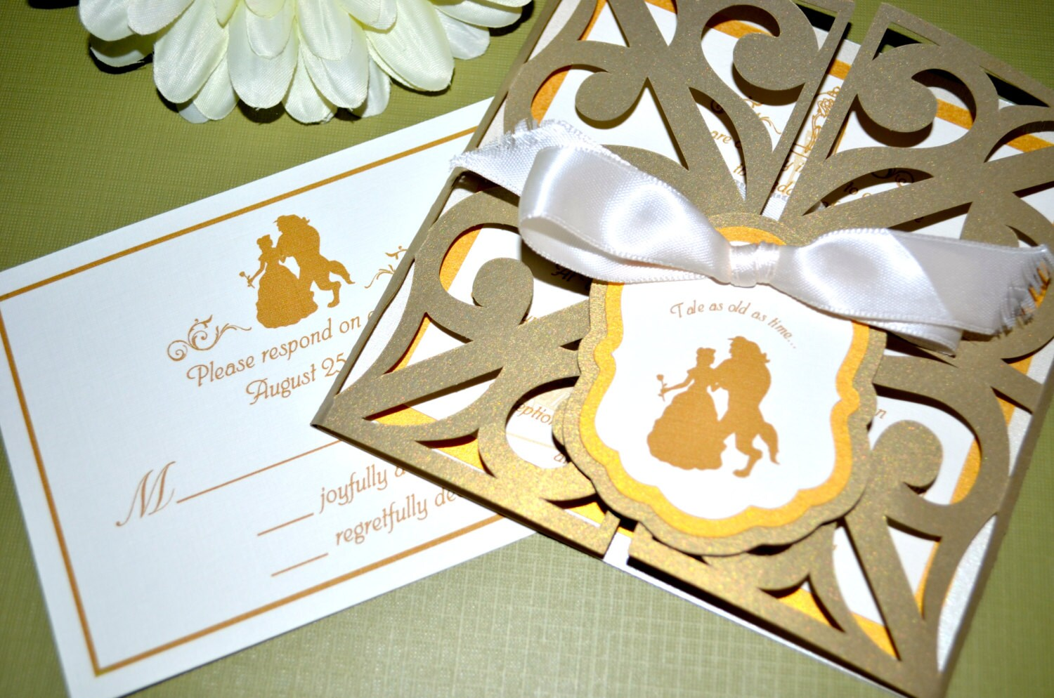 Fairy tale wedding invitations beauty and the beast gate zoom monicamarmolfo Images