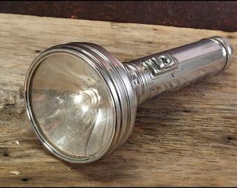 Flashlight - Vintage Non-Working Chrome Metal Shiny Prop Torch