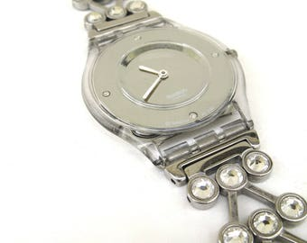 vintage swatch watch  ...   swatch skin  ...  uber thin  ...  rhinestones   ...   bling