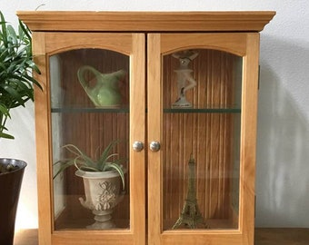 Curio Cabinet / Small Vintage 80's Display Case / Bath Cabinet /  Hangs or Stands / Blonde Wood and Glass / Miniatures Display