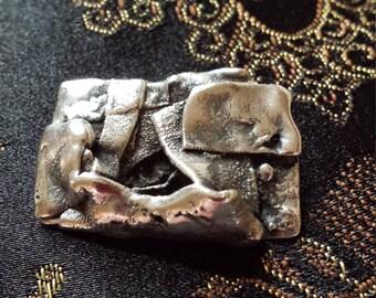 Sterling silver contemporary art brooch
