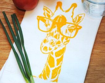Yellow Giraffe Flour Sack Tea Towel - Screen Printed Flour Sack Kitchen Towel - Wedding Gift - Kitchen Accessories - African Theme