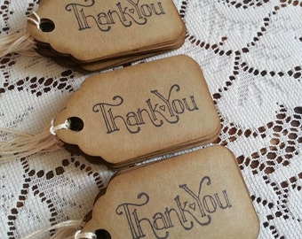 Kraft thank you gift tags, Favor tags, Thank you tags, Wedding thank you tags, Rustic tags, Set of 25 or 100