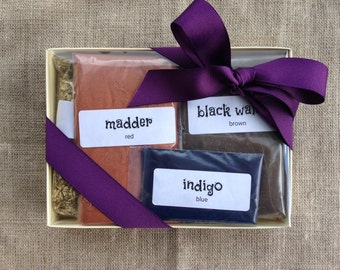 natural dye kit - indigo, madder, weld, black walnut