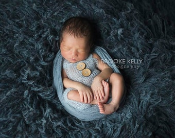 Baby Blue Mohair Button Overalls Pants Newborn Photography Prop