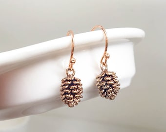Rose Gold Pine Cone Earrings / Pink Gold Earrings / Pink Pine Cone Earrings / Winter Earrings / Forest Earrings / Woodland Earrings