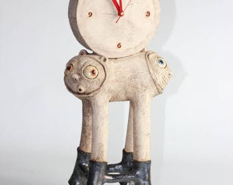 Unique clay sculpture - Monster Clock  - art decor quirky eclectic pottery, partly glazed, hand made gift, home decor, (092)