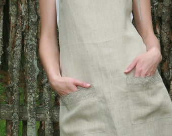 Pure Linen Full Organic Apron With Pure Linen Laces