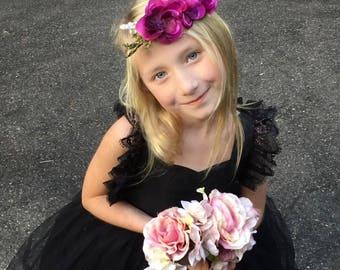 Purple flower headband-ready to ship -flower girl- plum headband -newborn headband-, fall tieback,flower girl, flower crown