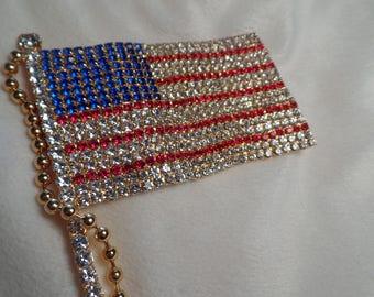 Huge American Flag Rhinestone Brooch-5 1/2 Inches Long!