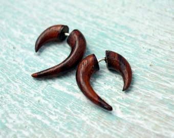 Earrings Fake Gauge Earrings Wooden Mini Hook Talon Tribal Earrings - Gauges Plugs Bone Horn - FG062 W G1