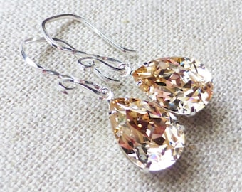 Champagne Swarovski Crystal Earrings, Silk Rhinestone Pear Earrings, Sterling Silver Teardrops, Bridesmaid Gifts, Wedding, Gift for Her